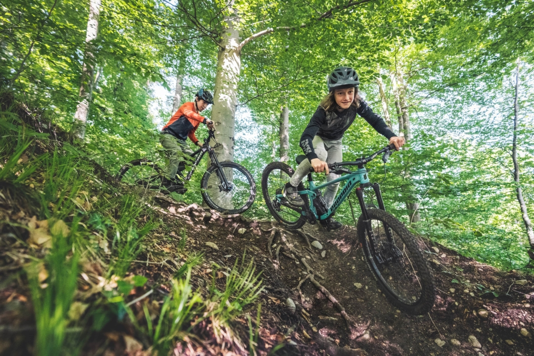 Take it easyThe lightweight aluminium frame and balanced geometry give the young shredders confidence and stability. The slack head angle and the low bottom bracket ensure safe handling even in rough terrain.